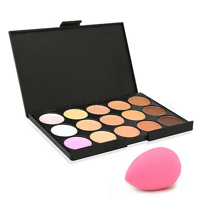 New 15 Colors Contour Face Cream Makeup Party Concealer Palette + Sponge Puff