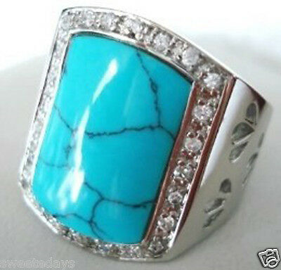 Jewellery turquoise men's ring (size 9,10,11)