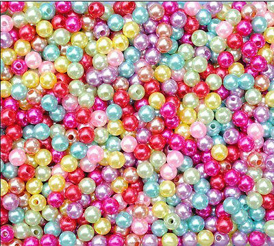 500X Multicolor Round Pearl Imitation Glass Beads 4mm Wholesale Lots Bulk New