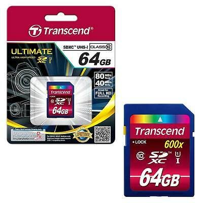 NEW 64GB Transcend Ultimate SDXC SD Memory Card Class 10 UHS-I 600x 90MB/s 64GB