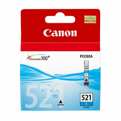 Genuine Canon CLI-521C / CLI-521 / CLI521 / CLI 521 Cyan Ink Cartridge