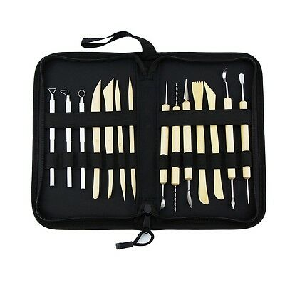 New 14pcs Wooden Metal Clay Sculpting Tool Set Art Projects Pottery Tools Kit UK