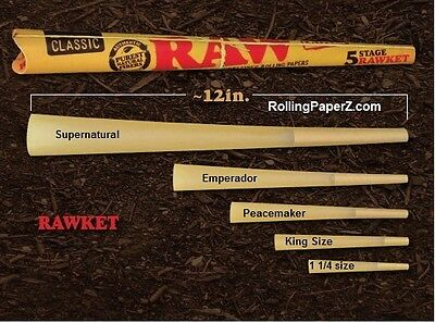 "RAW ""RAWket"" FIVE CONE KIT Rolling Papers - NEW Assorted SIZES PRE ROLLED CONES"