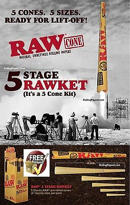 "RAW ""RAWket"" FIVE CONE KIT Rolling Papers - NEW SIZES 12"", 1 1/4, King size+MORE"