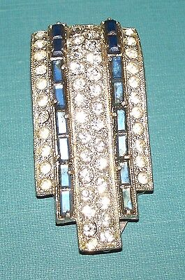 1910 ?  SCARF CLASP FAUX DIAMONDS WITH BLUE STONES
