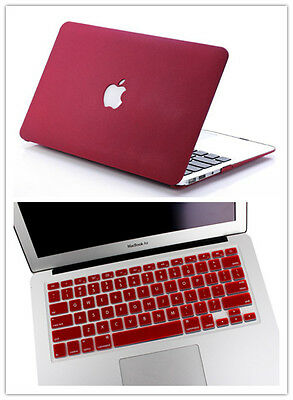 """2in1Wine Red(Quicksand) Rubberized Hard Case Cover for Apple MacBook AIR 13.3"""""""