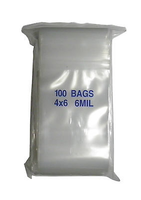 """Thick Heavy Weight 6 MIL Zip Lock Plastic Storage Bags 4"""" x 6"""" 100 Pieces"""