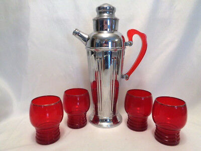 5-  IMPERIAL GLASS RUBY RED RINGED BASE PLATINUM RIM TUMBLERS- SHAEFFER