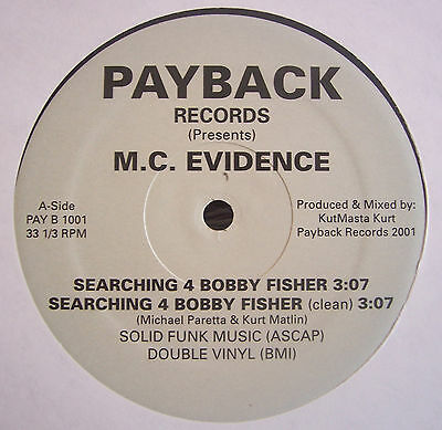 "M.C EVIDENCE ~ Searching 4 Bobby Fisher ~ 12"" Single USA PRESS"