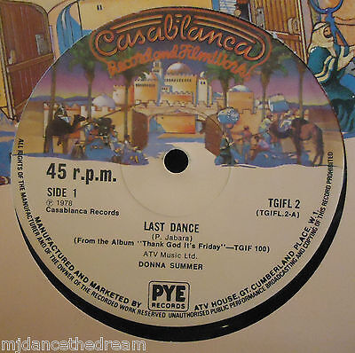 """DONNA SUMMER ~ Last Dance / With Your Love ~ 12"""" Single"""