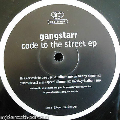 "GANG STARR - Code To The Street ~ 12"" Single EP PROMO"