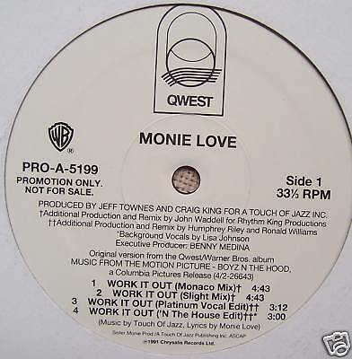 "MONIE LOVE ~ Work It Out 7 x MIXES 12"" PROMO USA PRESS"