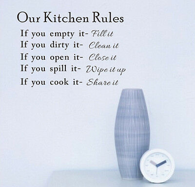 JT15 Words kitchen Rules Wall Quote DIY Sticker Art Vinyl Decal Home Stickers