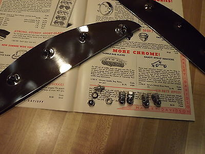 HARLEY KNUCKLEHEAD  FLATHEAD 5 HOLE DIMPLED CHROME  SADDLE BAG PLATES