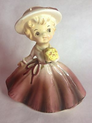 Vintage Brinnco Made In Japan Ceramic Young Girl With Flower Figure Retro Asia J