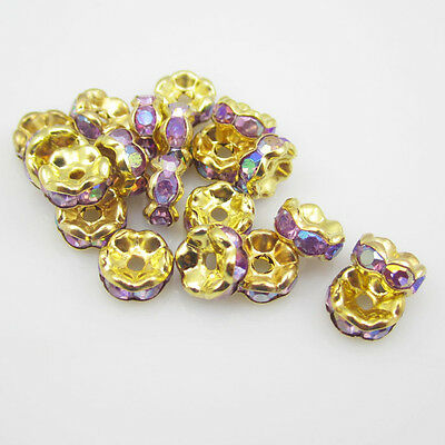 NEW Free shipping jewelry 20pcs 8MM Plated gold crystal spacer beads Purple AB
