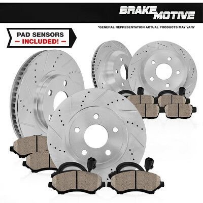 Front + Rear Drilled Slotted Brake Rotors & Ceramic Pads 2001 - 2006 Bmw M3 E46