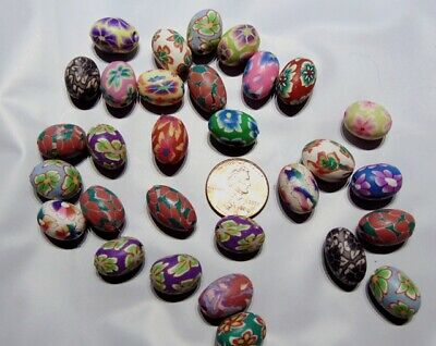 60 Polymer Poly Fimo CLAY Bead Mix ~Flower Design ~ Easter Egg Shape 15x10mm
