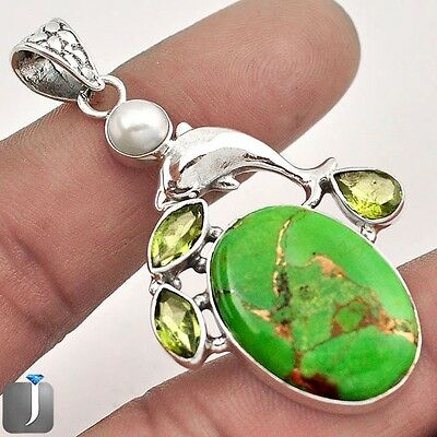 16.60cts GREEN COPPER TURQUOISE PERIDOT PEARL 925 SILVER DOLPHIN PENDANT F45106