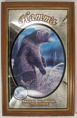 Hamm's Beer Grizzly Bear Mirror Sign 1993 Pabst Brewing Company