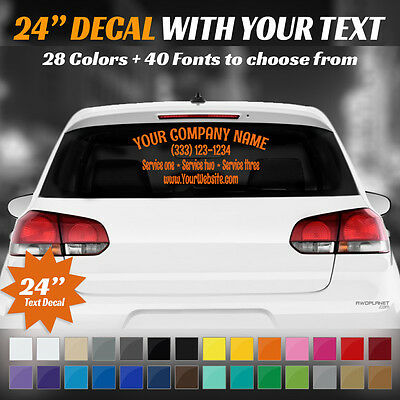 "24"" Custom Car, Truck Door Back Window Decal Business Name Vinyl Sign Lettering"