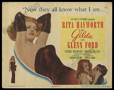 ORIGINAL 1946 GILDA Title Lobby Card MOVIE POSTER - RITA HAYWORTH AT HER SEXIEST