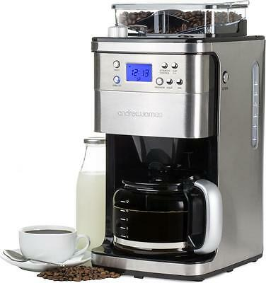 Andrew James 12 Cup Filter Coffee Maker Machine Timer + Integrated Bean Grinder