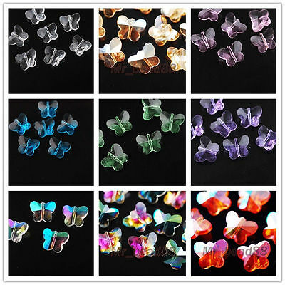 Faceted Glass Crystal Pretty Butterfly Design Spacer Beads Findings Charms 14mm