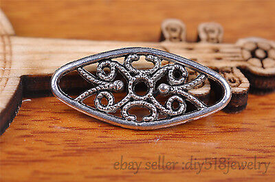 10s 24*11mm flower pendant bead Charm Tibet silver metal plated diy jewelry 7100