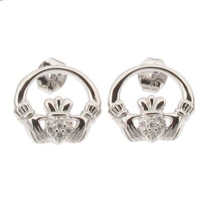 Sterling Silver Claddagh Design Post / Stud Earrings with CZ, Rhodium Plated