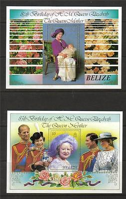 Belize Mnh 1985 Queen Mother Set Of 2 Minisheets