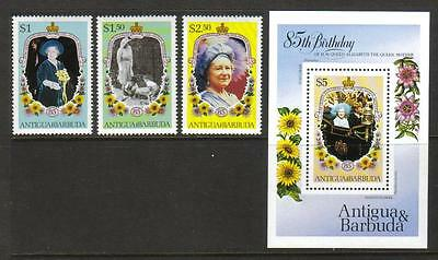 Antigua & Barbuda Mnh 1985 Queen Mother Set Of 3 & Minisheet