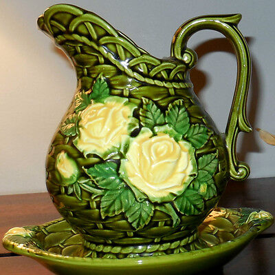 Rubens Original1969 Green Basket Weave Pitcher and Saucer with Yellow Roses