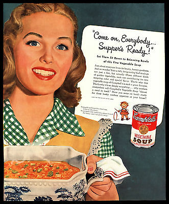"Original 1946 ""campbell's Soup"" Pretty Housewife - Vegetable Soup Art Print Ad"