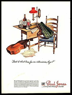 Original 1944 Paul Jones Whiskey MUSIC-VIOLIN - INTERMISSION   Vintage Print Ad