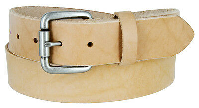"""Natural Finish Full Grain Leather Belt with Roller Buckle 1-1/2"""" Wide"""