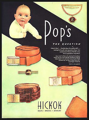 "Original 1946 ""hickok Belts, Buckles, Jewelry"" Baby -Pops -  Art Print Ad"