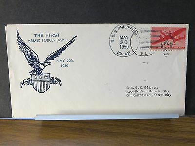 USS PHILIPPINE SEA CV-47 Naval Cover 1950 ARMED FORCES DAY Cachet