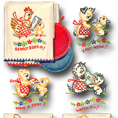 Vintage 50s Embroidery pattern ~ Mother & Child Animals doing kitchen chores