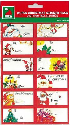 24 Christmas gift tags present gift wrap self adhesive labels stickers sticky
