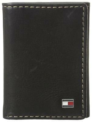 New Tommy Hilfiger Men's Premium Leather Credit Card Wallet Trifold Black 4436-1