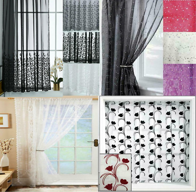 Voile Panel Net Curtain 4 Great Designs Slot Top Header ~ Many Patterns & Sizes