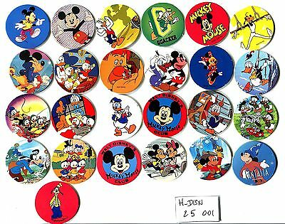 POGS - H-DISN25 001 Lot de 25 Pogs DESSIN ANIMES DISNEY (DONALD,MICKEY etc...)