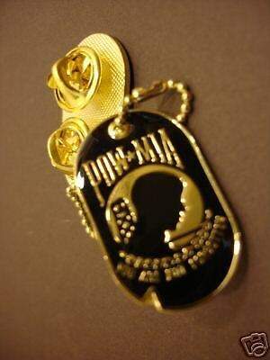 POW*MIA PIN Dog Tag Military NEW Rare Pinback Brass Army Marines Navy POW MIA