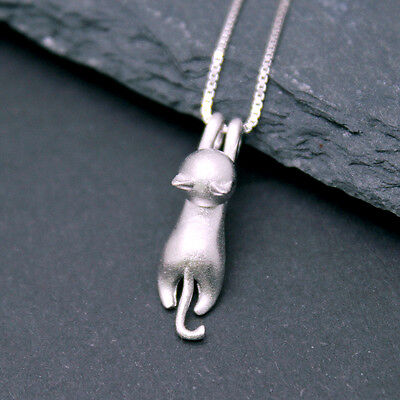 925 Silver Cat Necklace Hanging Cat Kitten Silver Pendant Small 17 inch 45cm