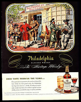 Original 1950 Philadelphia Whiskey- Ben Franklin -Print Shop 1776  Vtg Print Ad