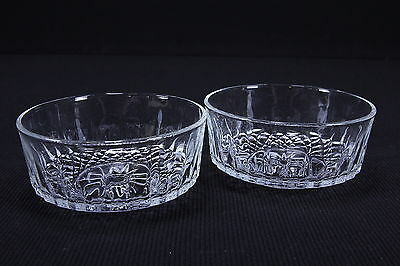 "2 Arcoroc France Diamant Pattern Clear Glass Individ Salad Bowls 4 7/8"" Diameter"