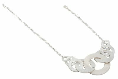 Zest Silver Look Textured Link Pendant Necklace Silver