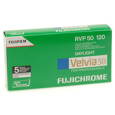 5 PACK NEW Fuji Velvia 50 - RVP 120 Roll - Colour Reversal Slide Film