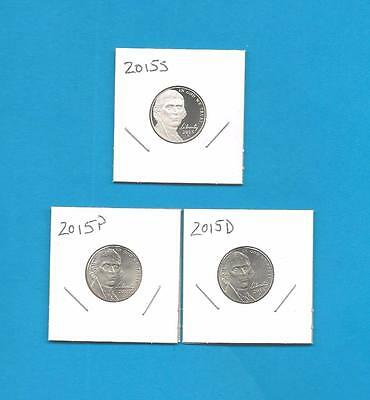 2015 P D and S BU and Proof Jefferson Nickels-PD from Rolls-3 Coins